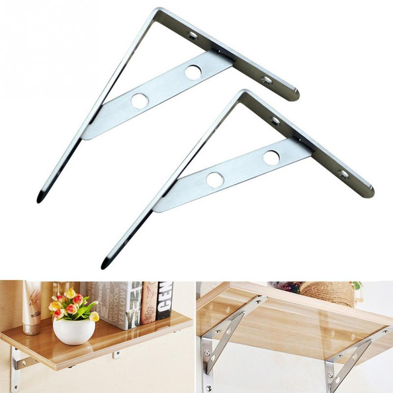 2Pcs Stainless Steel Triangle Bracket Board Rack Holder Wall Mounted Thicken Home DIY Partition Holder Stand #0272Pcs Stainless Steel Triangle Bracket Board Rack Holder Wall Mounted Thicken Home DIY Partition Holder Stand #027