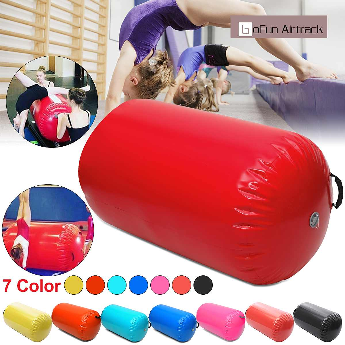 Gofun AirTrack Air Cylinder Tumbling Track Gymnastics Exercise Column Inflatable Gym Inverted Backflip Training Children Safe
