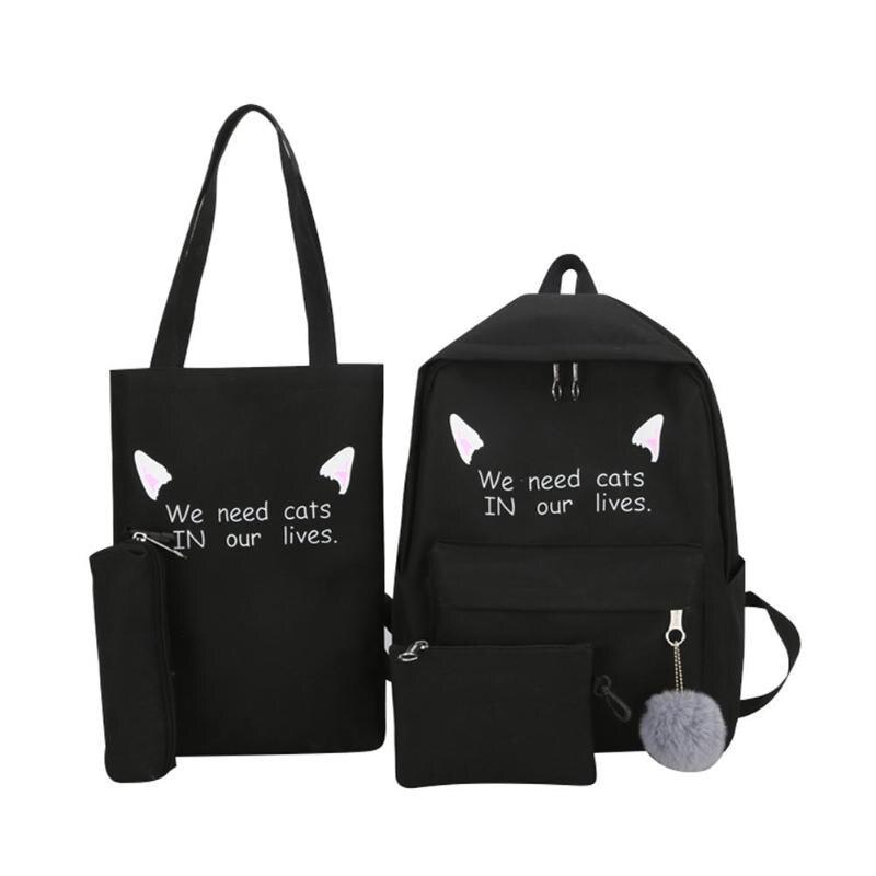 4pcs/set Women Backpack Schoolbags Clutch Teenager Girl Totes Shoulder Bags 4pcs/set Women Backpack Schoolbags Clutch Teenager Girl Totes Shoulder Bags