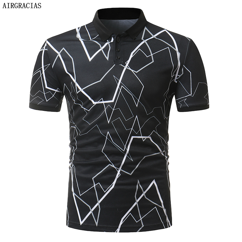 AIRGRACIAS 2019 Summer New Men   Polo   Shirt Men Fashion Print Short Sleeve   Polo   Shirt Men Casual Slim Fit   Polos   Hombre Mens Tops