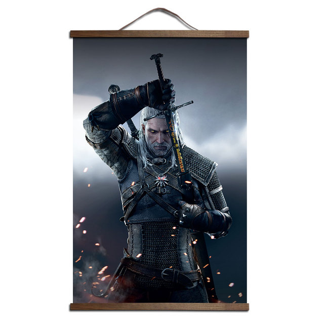 The Witcher 3: Wild Hunt poster for HD canvas poster decoration painting with solid wood hanging scroll no frame