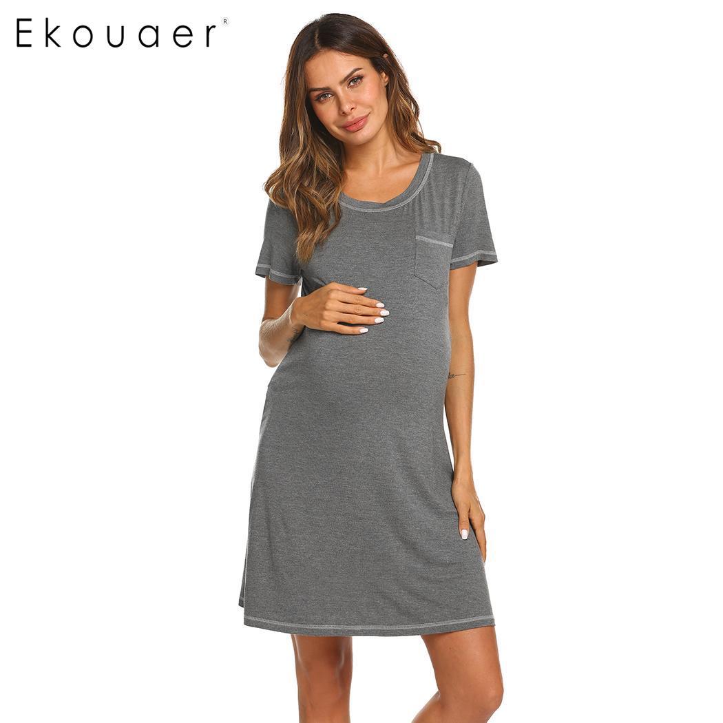 013fdefebd Ekouaer Night Dress Sleepwear Women Short Sleeve Nightgown Round Neck  Contrast Stitch Pocket Rayon Nightdress Female