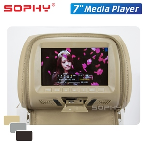 Image 5 - 2 szt. 7 Cal Monitor montowany za zagłówkiem samochodu z osłona na suwak LED cyfrowy ekran poduszka Monitor odtwarzacz MP5 i funkcje USB i SD