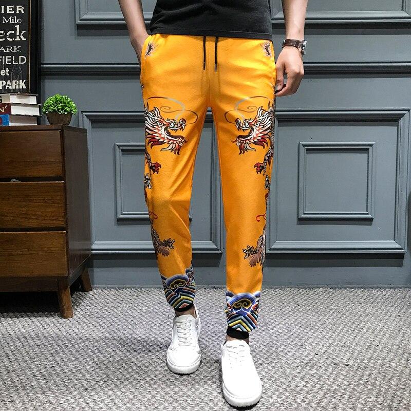 2019 Summer New Slim Fit Harem Pants Men Casual Men Dragon Printing Pants Drawstring Mens Joggers Hip Hop Trousers Men Clothes