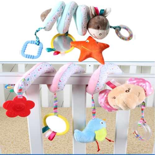 Baby Stroller Toys Cute Animals Mobile Bed Crib Car Hanging Stroller Spiral Plush Appease Doll Teether Developmental Rattles Toy
