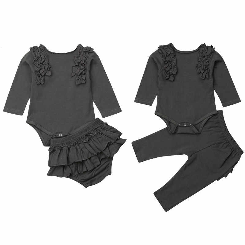 926dc30e2a5 0-18M Newborn Infant Baby Girl Long Sleeve Bodysuit Romper Tops Ruffles  Pant Shorts Bloomers