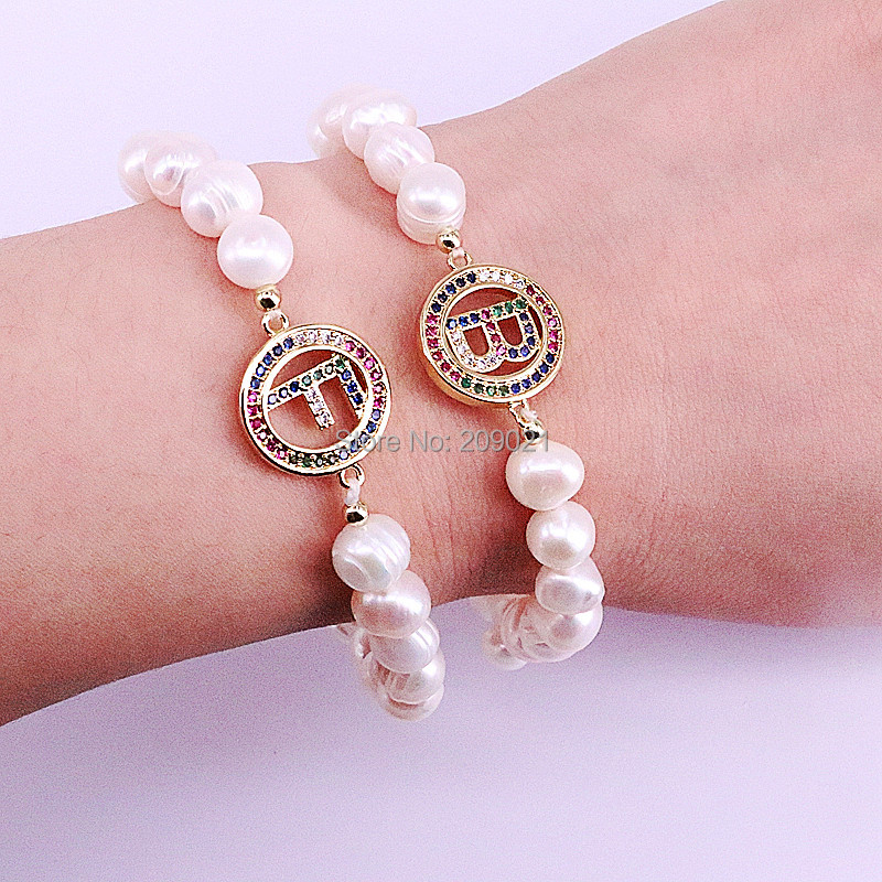 New Arrival 10Pcs Cubic Zirconia 26 Alphabet Initial Bracelets Natural Pearl Beads Bracelet for Women Girls