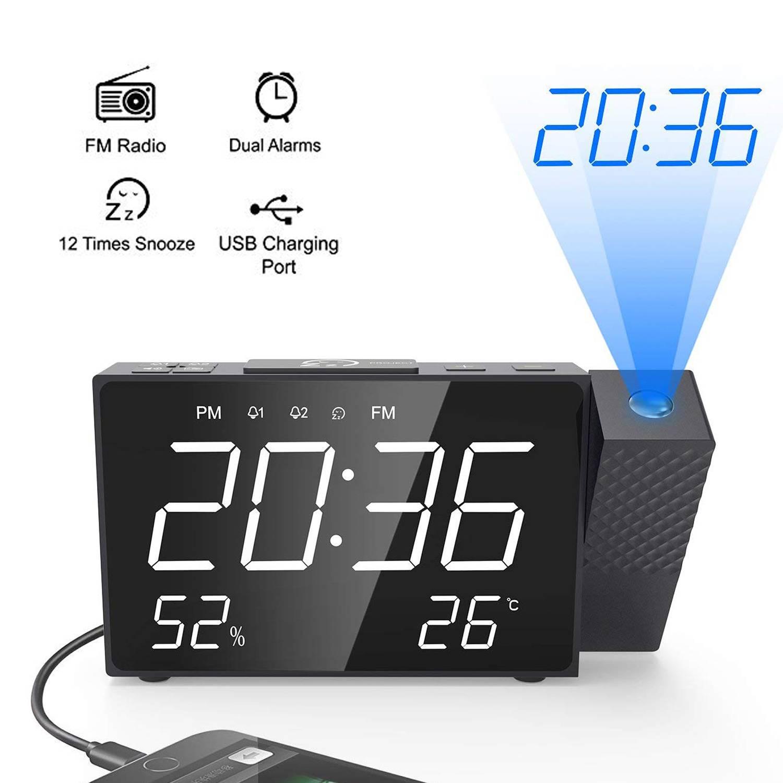 Multi functional Projection Alarm Clock Digital FM Radio Dual Alarm Volume Snooze Time Humidity Temperature DisPlay Led Clock
