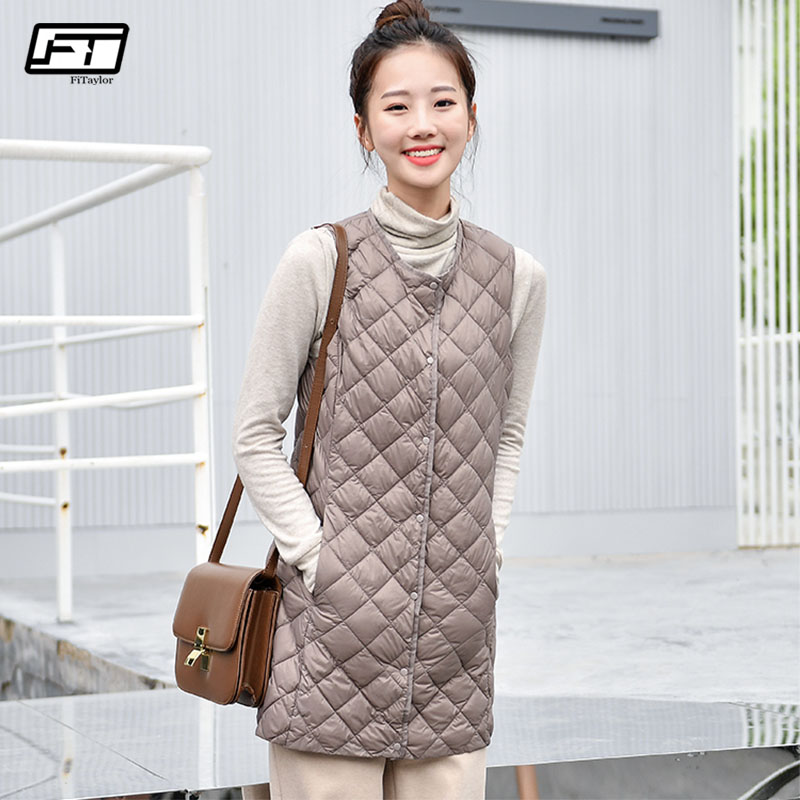 Fitaylor Autumn Winter Women Ultra Light White Duck   Down   Jackets Plus Size Lady Slim Long Design Warm Sleeveles   Down     Coats