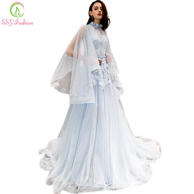 SSYFashion New Fresh Light Blue Lace   Prom     Dress   Robe De Soiree High-neck Sweep Train Long Sleeves Appliques Party Formal Gown