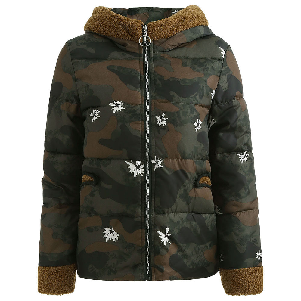 92b50243fef Women Winter Jackets Coat Hooded Camo Print Military Casual Parka Female  Rabbit Ear Puffer Coat Warm Anorak Jacket Overcoat