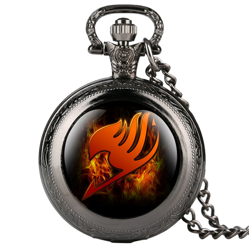 Pokemon Clock Fashion Pocket Watch For Kid Cartoon Fairy Tail Pattern Pocket Watches For Girl Creative Quartz Pocket Watch Retro