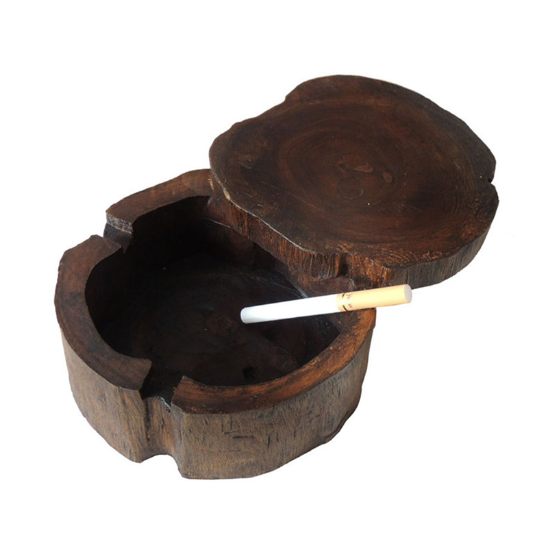 LUDA Wooden Ashtray For Smoking Weed Cigarette Southeast Asia Style Handwork Ash Tray Vintage Able Decorative Ashtray