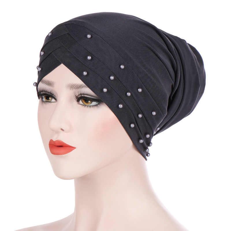 5b0a7eb89 ... Nuevo sombrero turbante musulmán Hijab islámico cuentas cáncer quimio  Cap señoras Hijab estiramiento musulmán Hijab bufanda ...