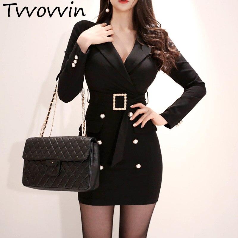 TVVOVVIN élégant col rabattu ceintures Double boutonnage femmes Blazer moulante femme robe courte bureau dames Vestidos R422