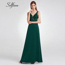 New Design Summer Beach Dress Women 2019 Elegant A Line V Neck Appliques Long Formal Party Dress Evening Vestido Elegante Mujer