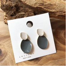 2019 Korea New Vintage Colorful Enamel Geometric Metal Round Irregular Water Long dangle Earrings for Women Girl Party Gift colorful enamel gold color round party earrings