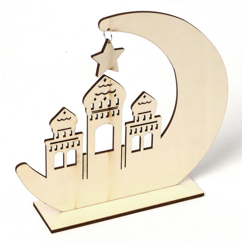 1 PC Decoration Wooden Styles Mubarak 2 Hanging Eid Pendant Ramadan Funny Eid UK