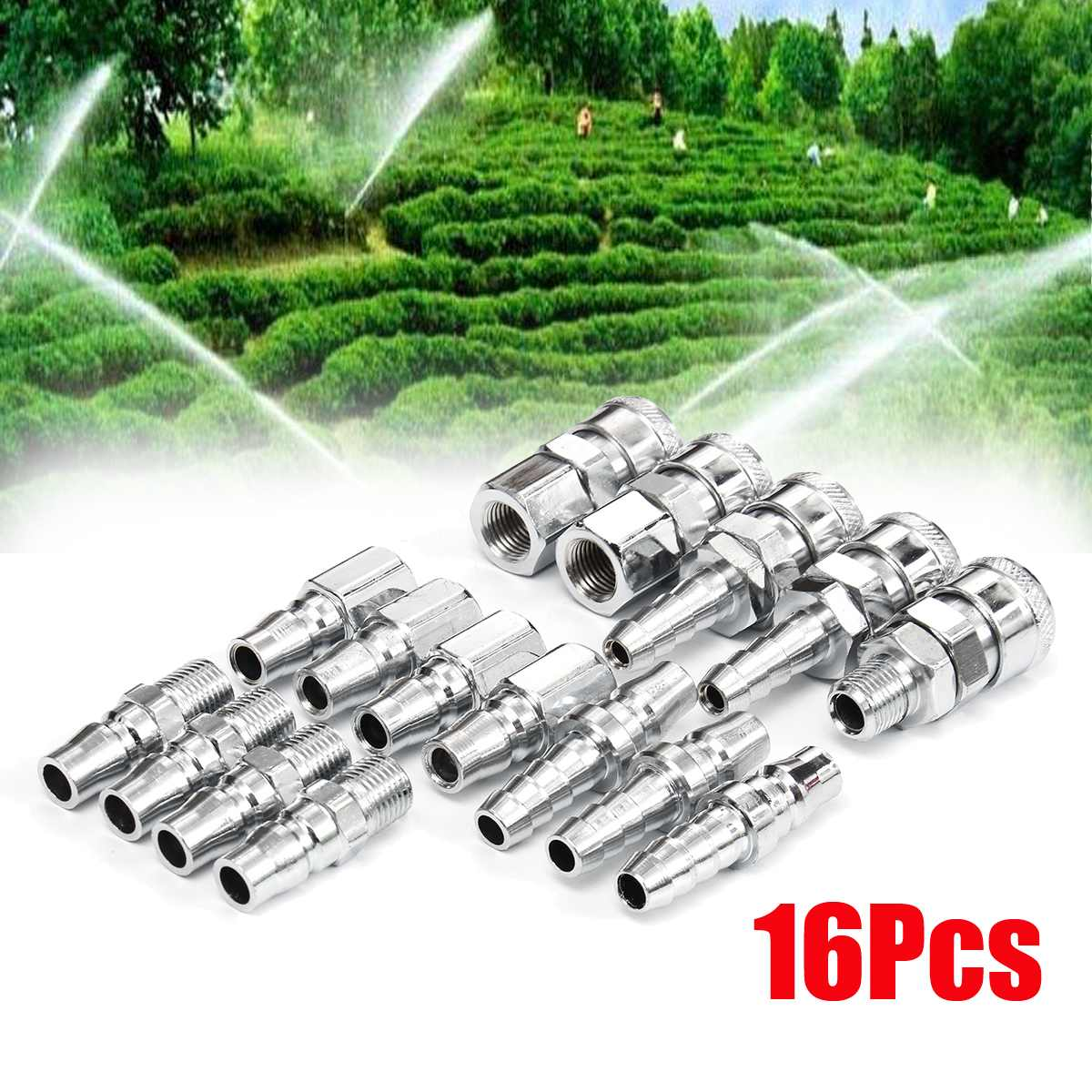 New 16pcs Quick Connector BSP Air Line Hose Fittings Compressor Connector Quick Release Coupler SetNew 16pcs Quick Connector BSP Air Line Hose Fittings Compressor Connector Quick Release Coupler Set