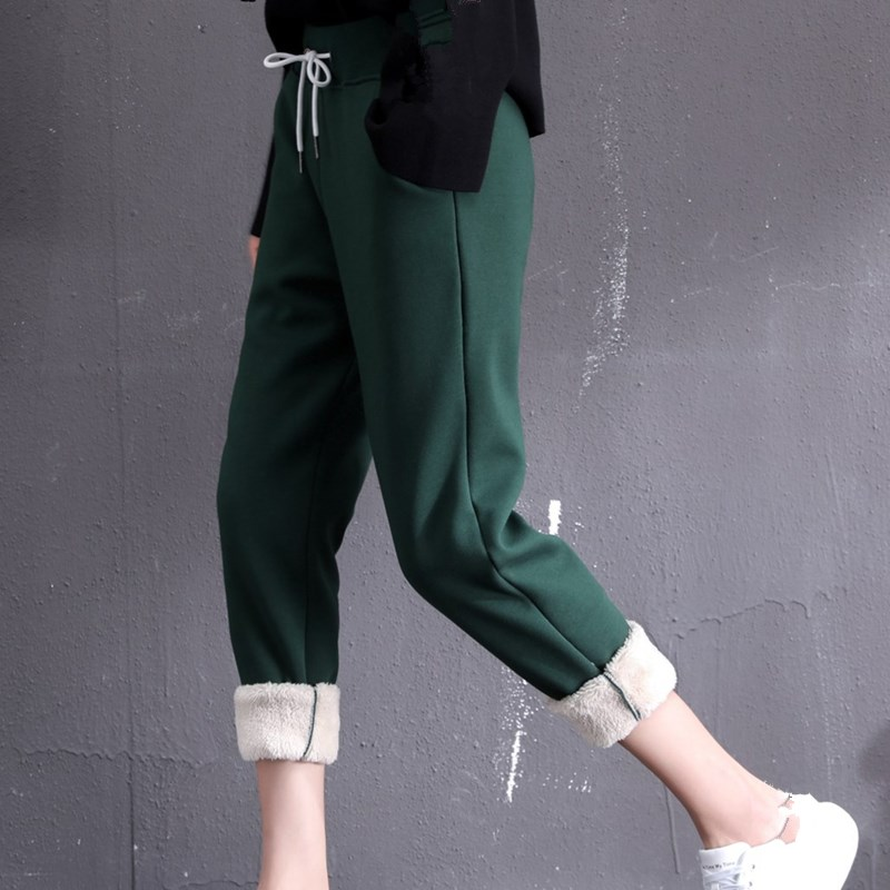 Winter   Capri     Pants   Warm Women   Pants   Loose Sweatpants Streetwear Trousers Women Soft Fleece Trousers