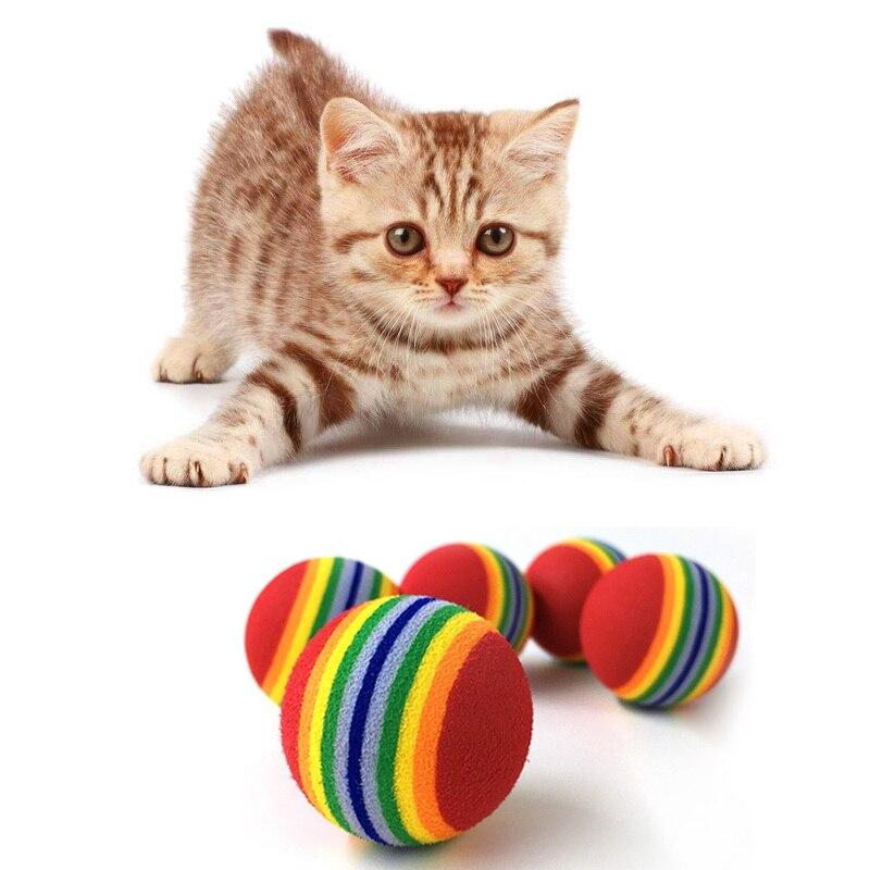 10 Pcs Super Leuke Regenboog Speelgoed Bal Kleine Hond Kat Huisdier Eva Speelgoed Praktijk Ballen