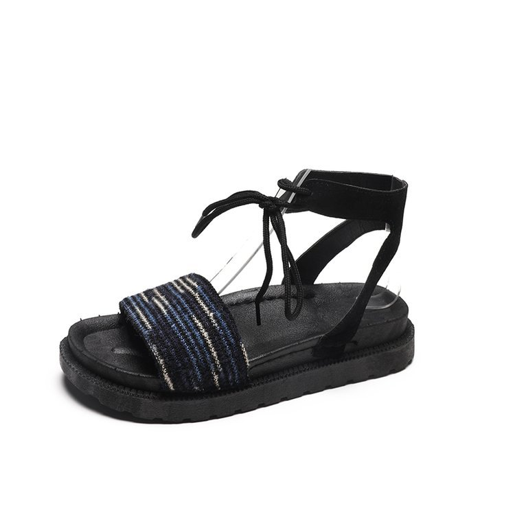 Casual Lace-up Rome Gladiator Women Sandals Solid Ankle Strap Shallow Women Shoes Summer Fashion Flat Sandals 6