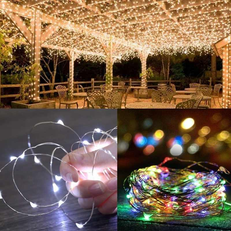 10/20M Waterproof Solar Powered 100/200 LED Copper Wire Light String Fairy Outdoor Garden Party Light String Decoration Light