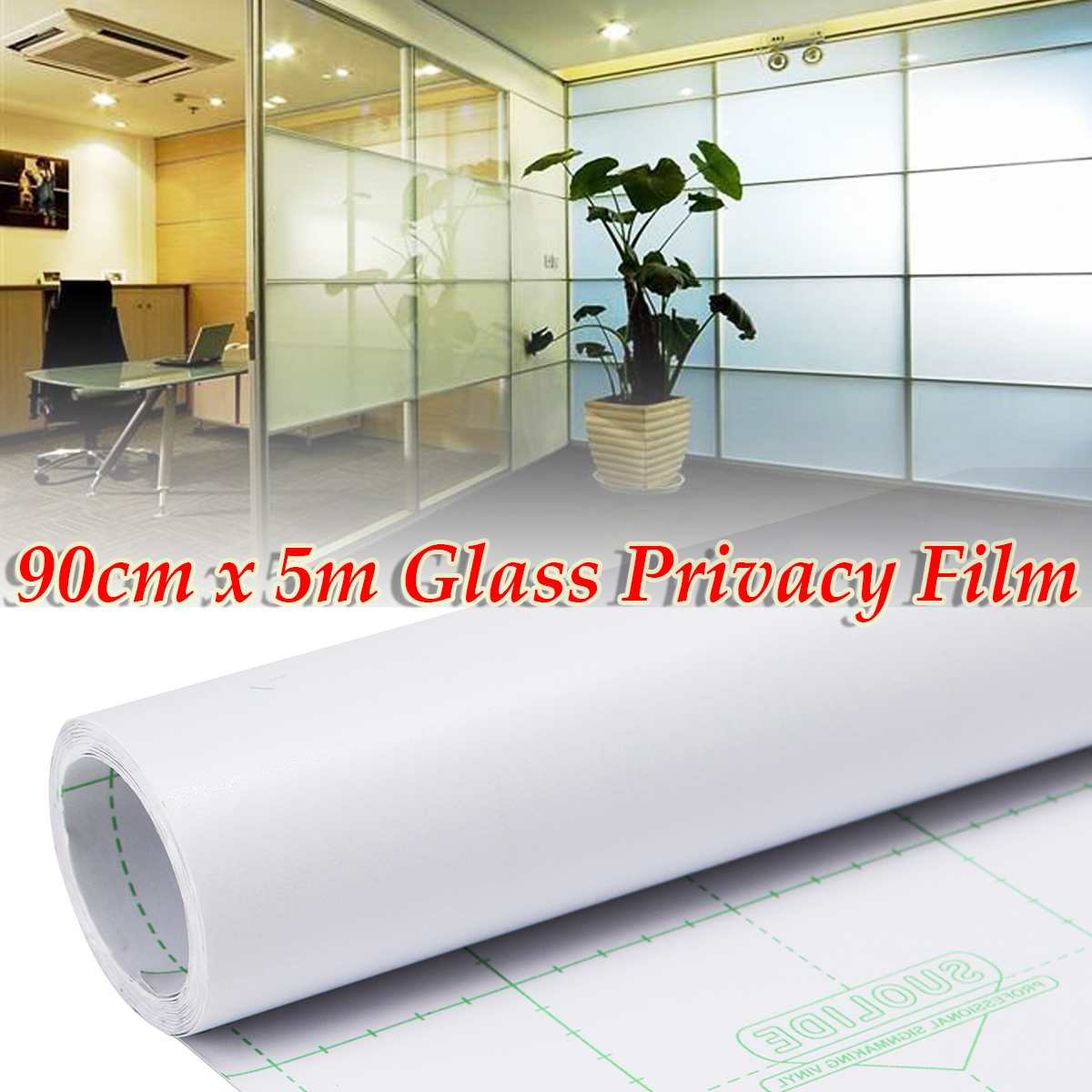 Window Film Privacy Tint Glass PVC Frosted Film for DIY Home/Office/Store Home Decor Bathroom Window Glass Tint 90cm x 500cm