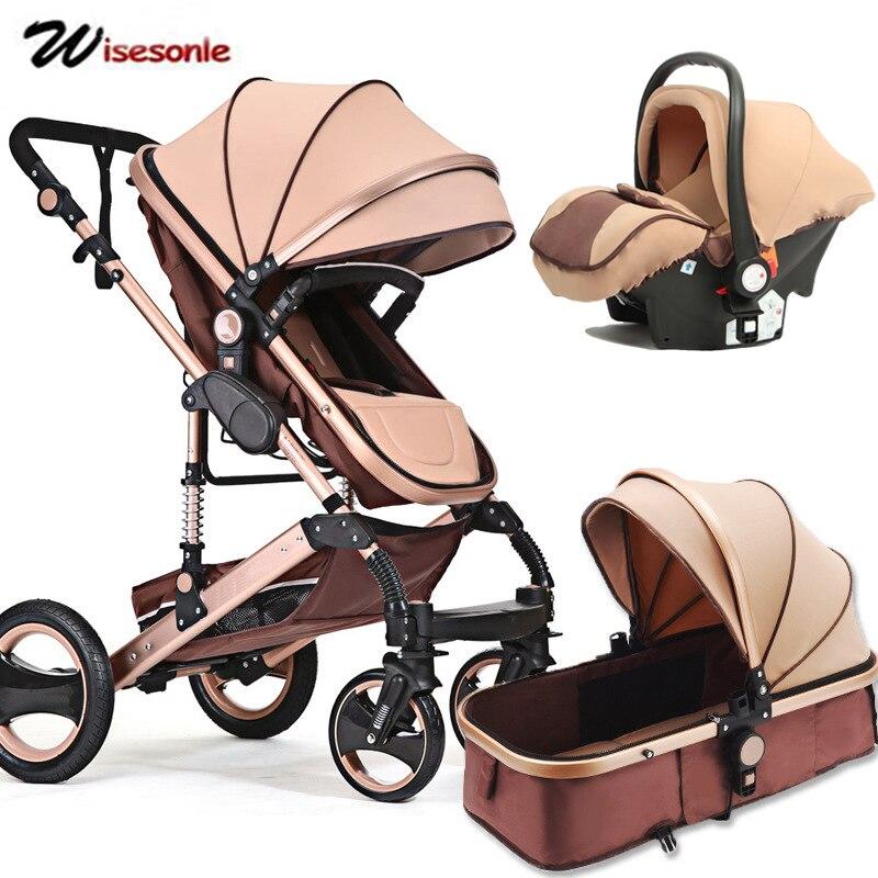 Wisesonle poussette bébé 2 en 1 poussette allongée ou amortissante pliante poids léger deux faces enfant quatre saisons russie livraison gratuite
