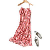 Pre Sale May 10 Beach Resort Style Gentle Floral Print Boat/Bateau Neckline Sleeveless Silk Strap Long Dress Female