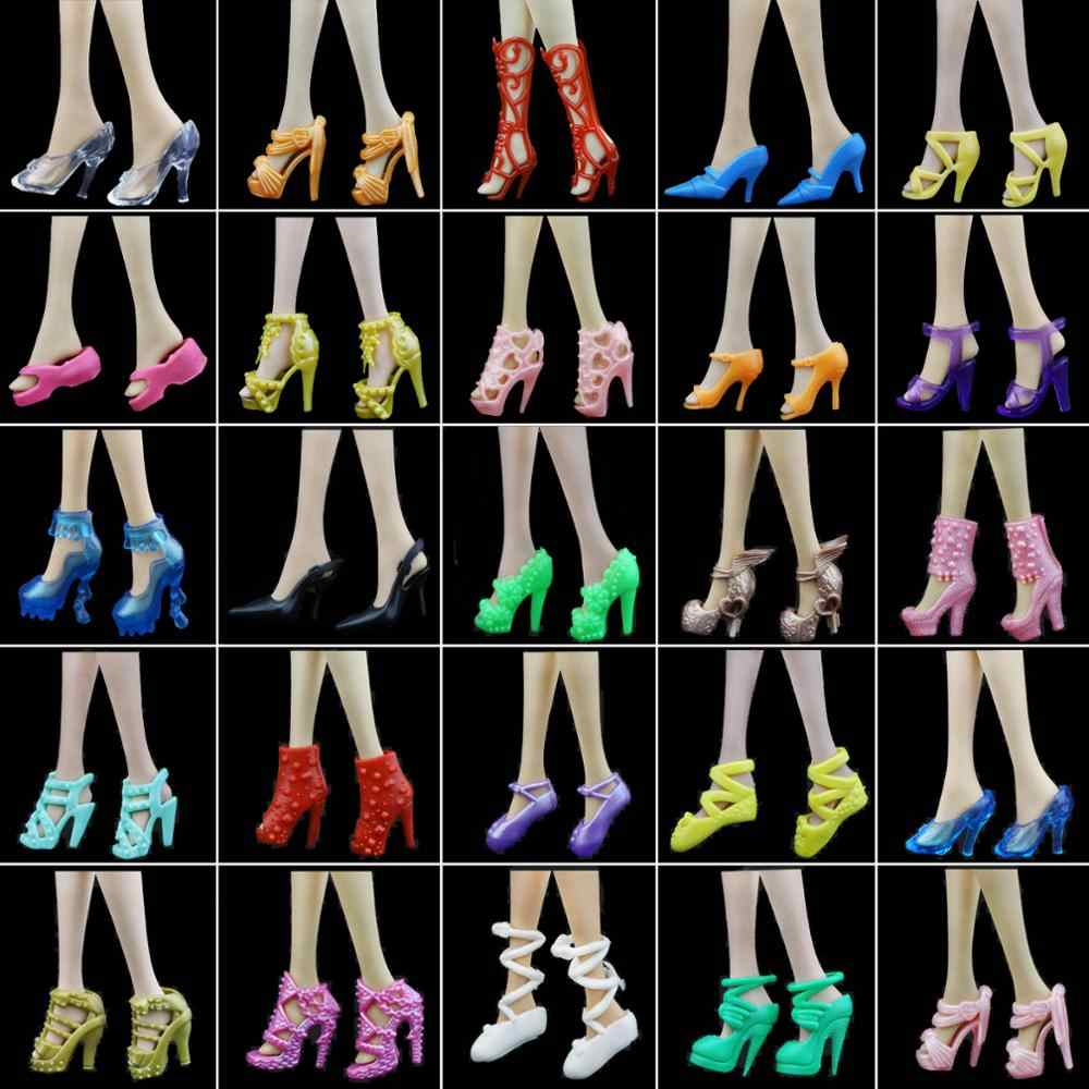 10x Random Shoes Fashion Mixed High Heel Sandals Slippers Colorful Accessories Dress Clothes For Barbie Doll Girls Play DIY Toys