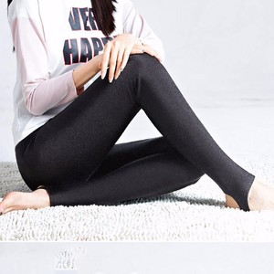 Image 5 - AOSHENG Autumn Winter Thick Leggings Fashion Solid Slim Pants Lady fleece Warm Leggings Casual Black Shiny High Waist Leggings