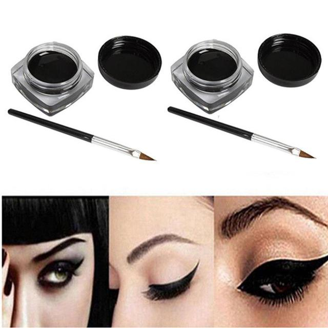 1set Make Up Eyeshadow Mini Eyeliner Gel Cream with Brush Makeup Cosmetic Black Life Waterproof Maquillaje 4