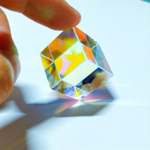 Prism Six-Sided Bright Light Combine Cube Prism 23*23*23mm Stained Glass Beam Splitting Prism Optical Experiment Instrument недорого