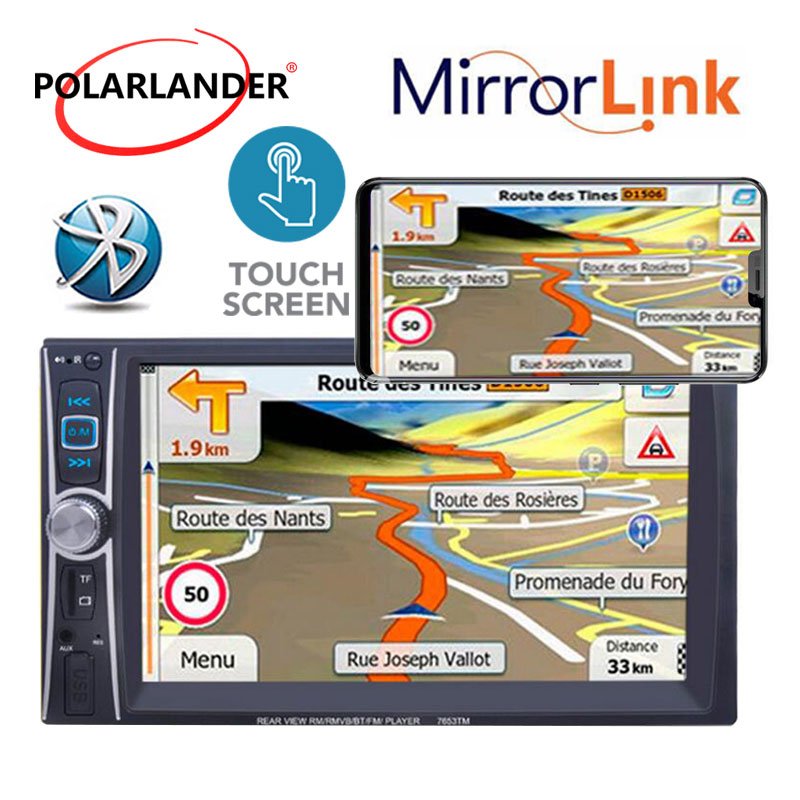 Autoradio 5 langues 2 Din DVR 6.6 pouces miroir lien écran tactile MP5 lecteur pour Android Bluetooth USB/AUX/SD télécommande