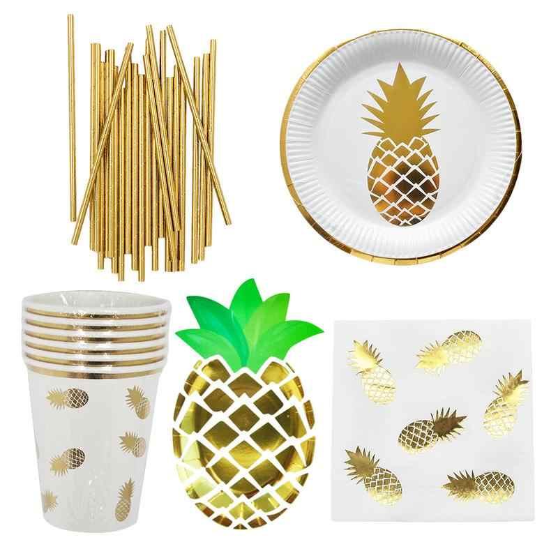 Новая бронзовая ананасовая одноразовая посуда лоток для бумажной посуды полотенце столовые приборы набор вечерние праздничные булавка со стразами свадебная реквизит