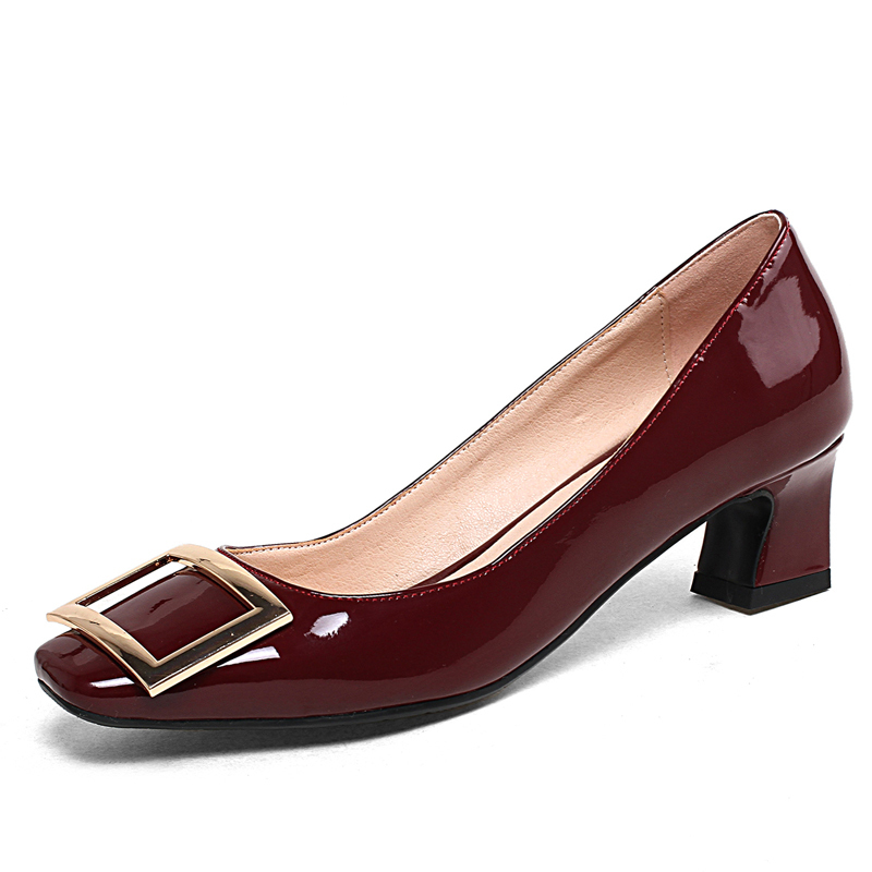 2018 Women's Plus Size Red Pumps 4 CM Chunky Heels Summer Dress Shoes Slip-on Cheap Party Shoe for Woman Box Packing H11