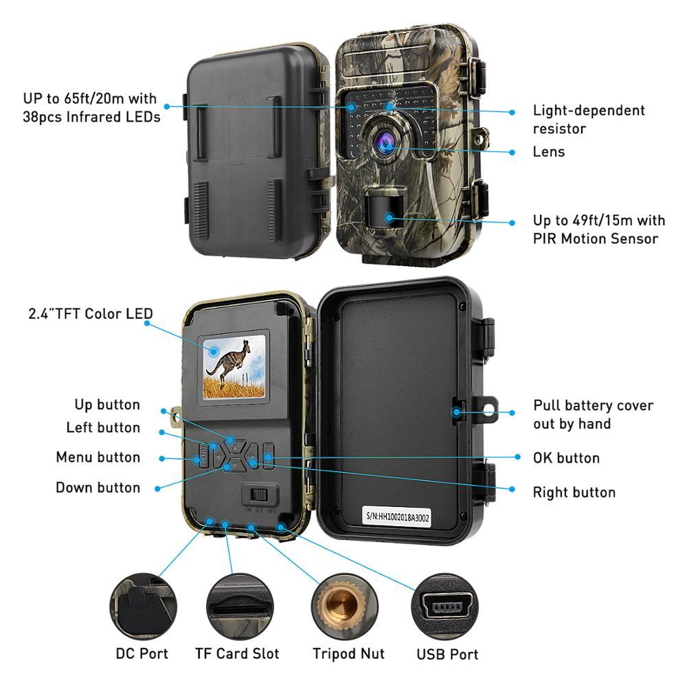 16MP 1080P caméra de chasse 0.6s mouvement rapide déclencheur numérique infrarouge Trail Cam vision nocturne caméra sauvage photo pièges caméra de jeu - 6