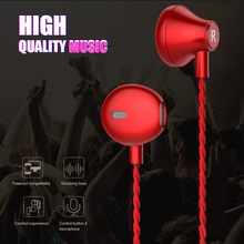 Fashion Metal Flat Earphone 3.5mm Line Earbuds In-Ear Stereo Subwoofer Earphone with Microphone earphone for Mobile Phone MP3