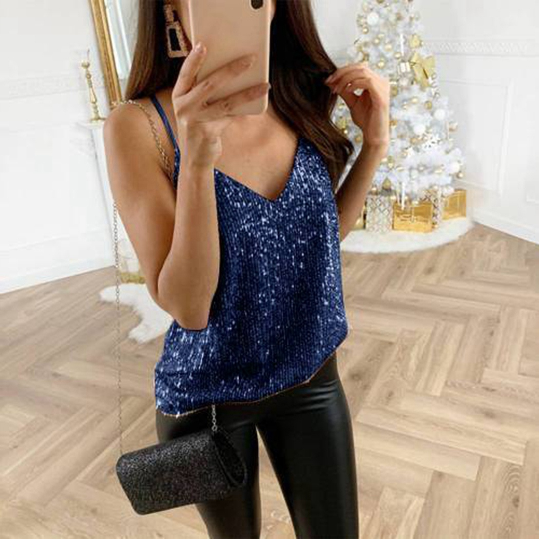 Ladies Shiny Loose Camisole T-Shirt V-Neck Camis   Top   Vest Femme Sexy Spaghetti Strap   Top   Women Fashion Glitter Sequin   Tank     Tops