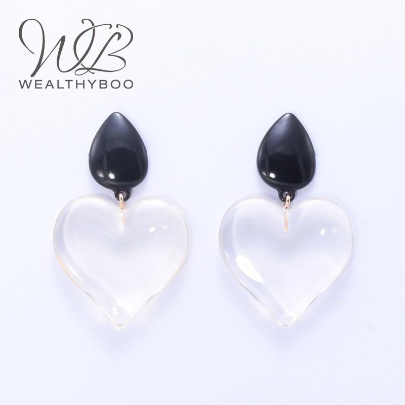 WEALTHYBOO New ZA Transparent Heart Earrings Pendant Women's Jewelry Black Water Drops Decorative Fashion Jewelry Popular Style