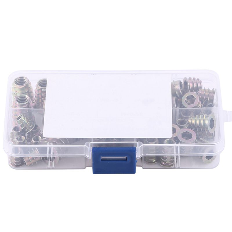 50 Pcs M4/M5/M6/M8/M10 Zinc Alloy Hex Socket Screw Inserts Threaded Insert Nuts Assortment Tool Kit with Plastic Box50 Pcs M4/M5/M6/M8/M10 Zinc Alloy Hex Socket Screw Inserts Threaded Insert Nuts Assortment Tool Kit with Plastic Box