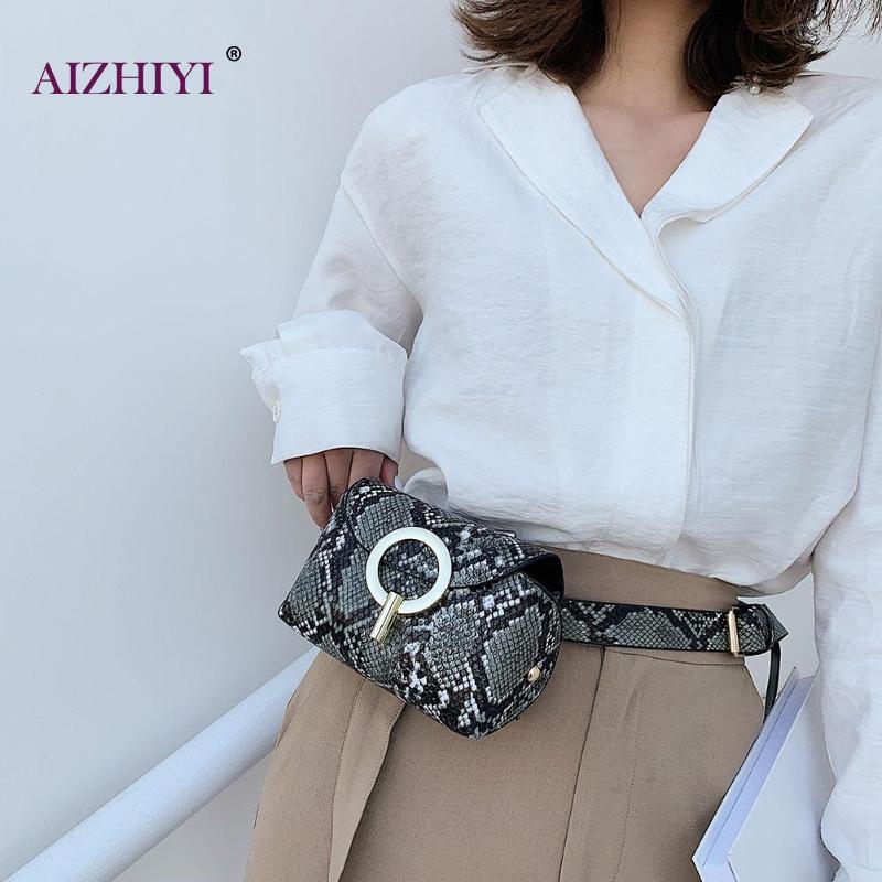 Fashion Snake Print Belt Shoulder Crossbody Bag Women Serpentine PU Leather Waist Bags Female Fanny Pack