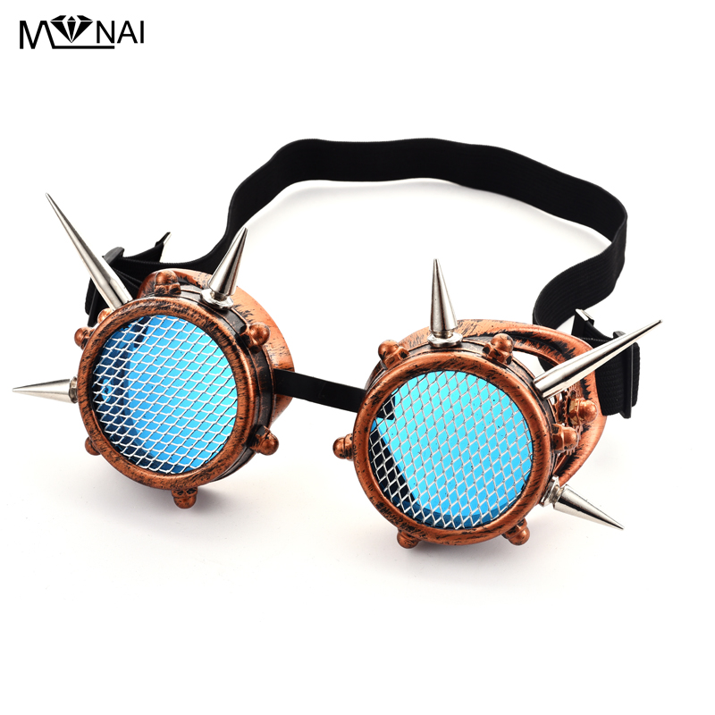 Hot Sale Men Women Steampunk Goggles Rivet Cyber Goggle Vintage Unisex Gothic Vintage Spikes Glasses(China)