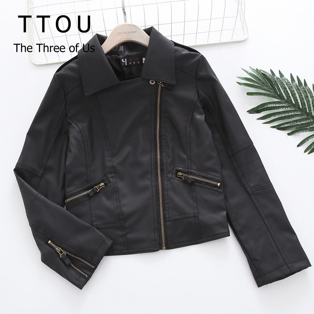 TTOU Women Fashion Solid Coat Slim Cool Lady PU   Leather   Jackets Sweet Female Zipper Windproof Outwear Coat Plus Size