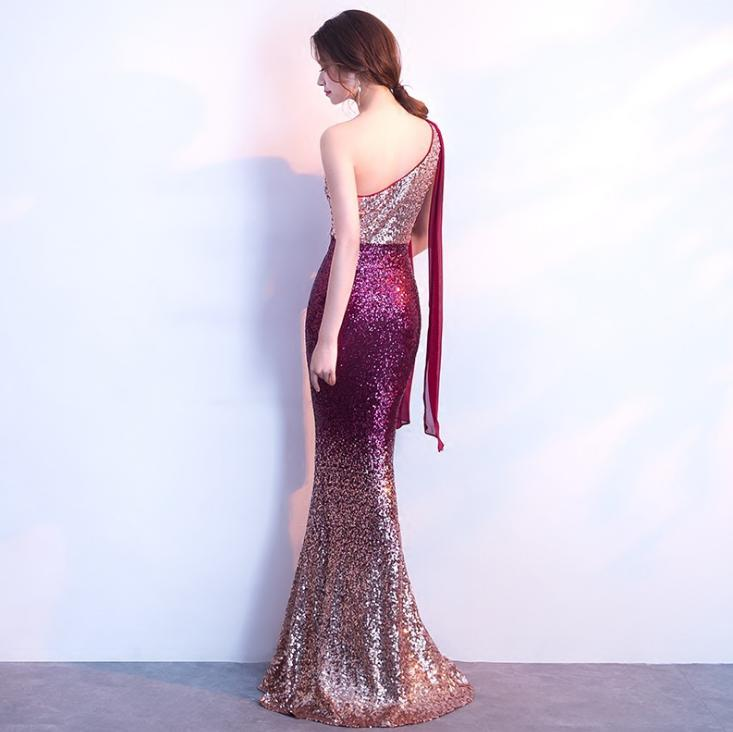 BANVASAC 2019 One Shoulder Sequined Mermaid Long Evening Dresses Elegant Party Gradient Color Backless Prom Gowns in Evening Dresses from Weddings Events