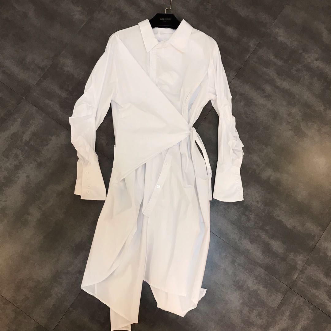 DEAT 2019 nouveau printemps mode femmes vêtements décontracté lâche col rabattu irrégulière chemise robe femme Cestido ZA009100 - 2