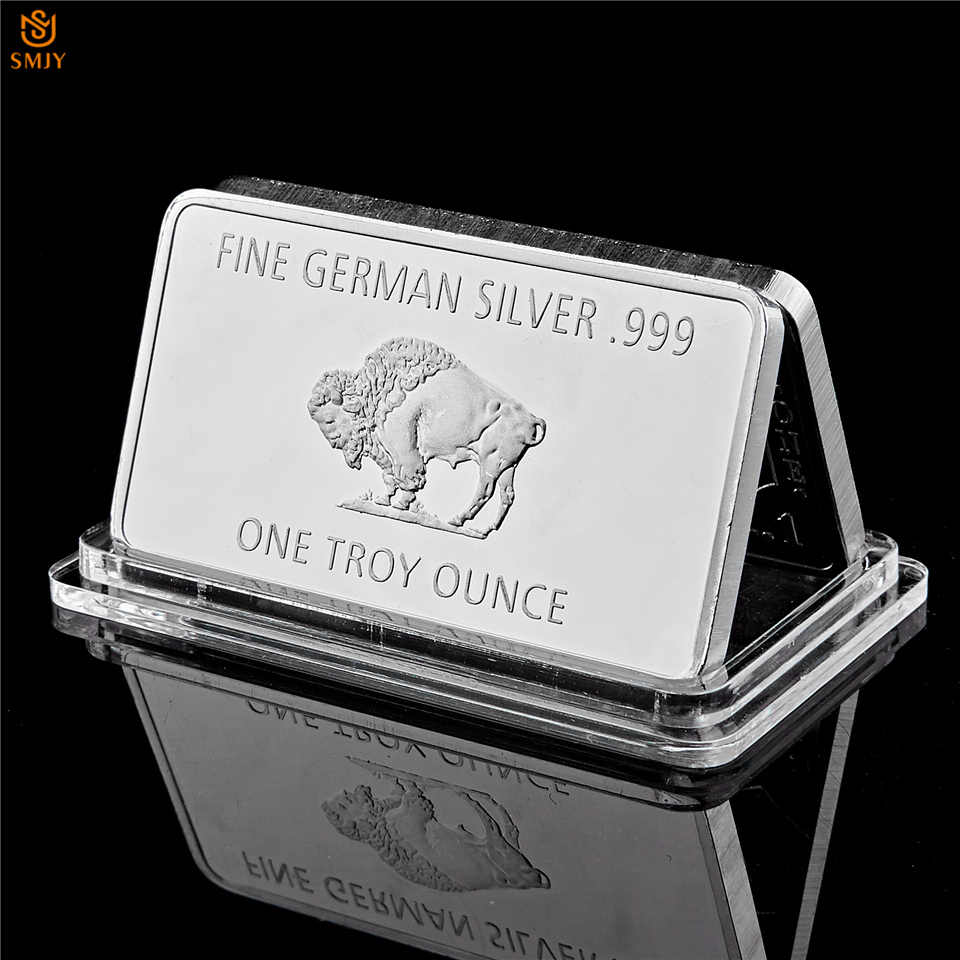 Fine Germany Silver .999 Mint 1 Troy Ounce Buffalo European Silver Plated Metal Bullion Bar Copy Coins Collection
