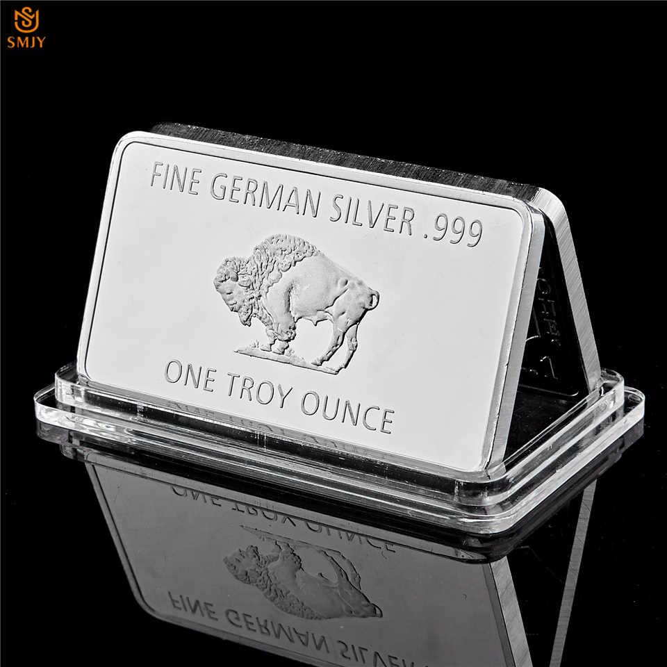 Baik Jerman Perak 999 Mint 1 Per Troy Ounce Buffalo Eropa Perak Berlapis Logam Batangan Bar Menyalin Koin Koleksi