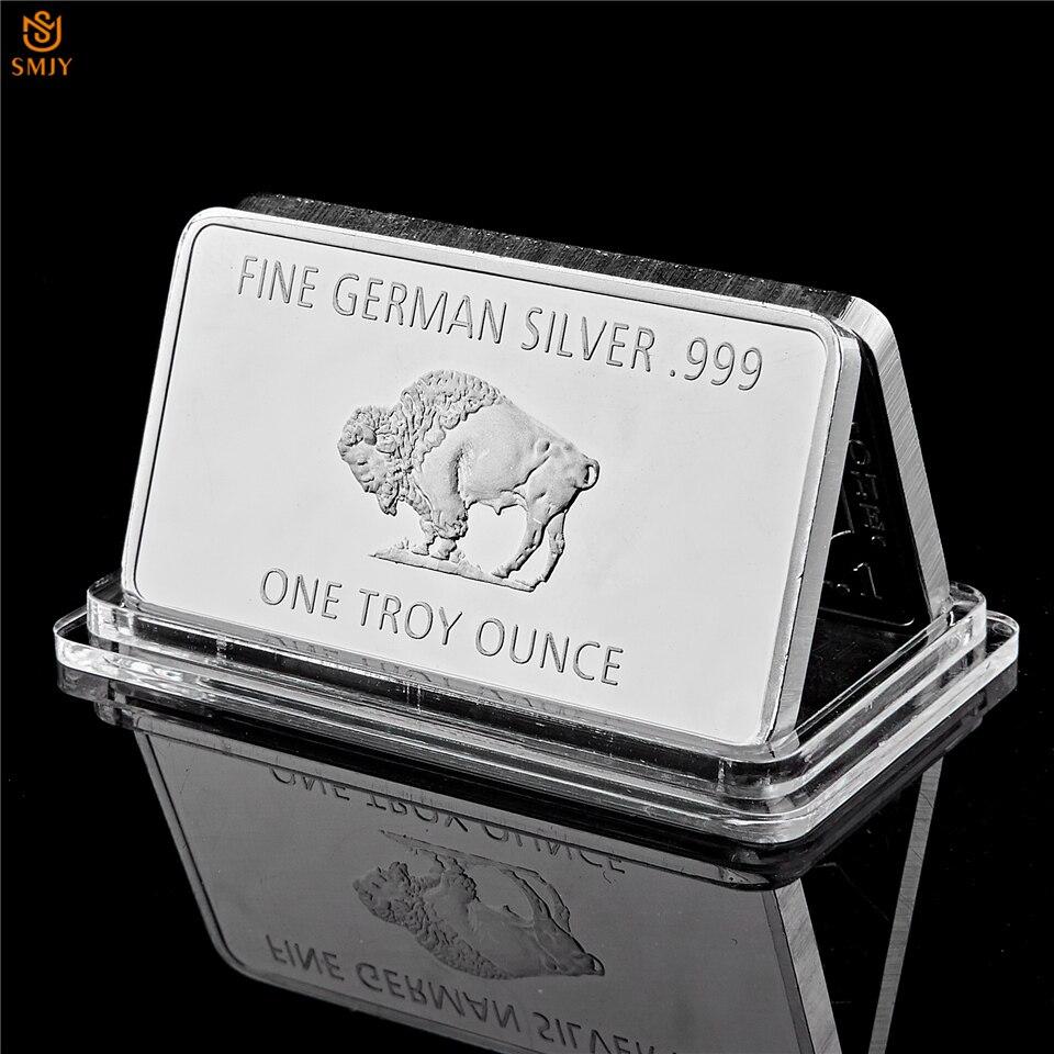 Fine Germany Silver .999 Mint 1 Troy Ounce Buffalo Euro Silver Bullion Bar Copy Coins Collection